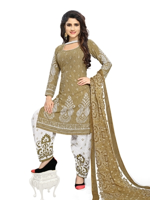 Beige fancy crepe salwar with dupatta