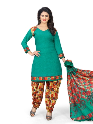 Turquoise fancy crepe salwar with dupatta