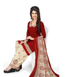 Buy Red fancy crepe salwar with dupatta punjabi-suit online