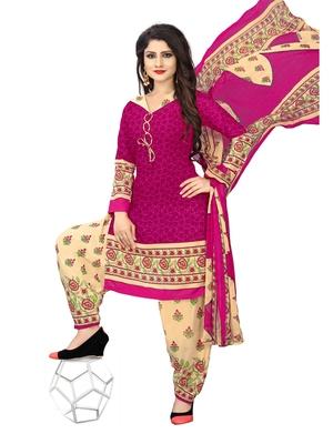 Pink fancy crepe salwar with dupatta