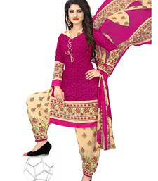 Pink fancy crepe salwar with dupatta