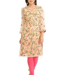 Fawn embroidered georgette chikankari-kurtis