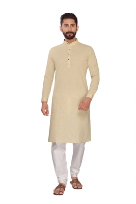 Biscuit Brown Plain Polly Linen Kurta Pajama