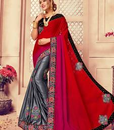 Buy Multicolor Art Silk Embroidered Border Party Wear Saree With Unstitched Blouse party-wear-saree online