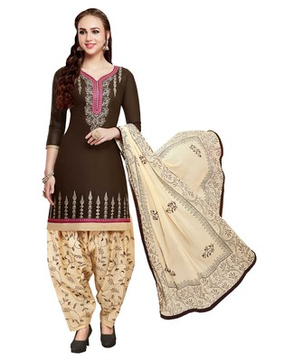 Brown Embroidered Cotton Salwar With Dupatta