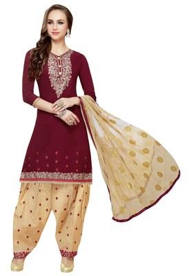 Maroon Embroidered Cotton Salwar With Dupatta