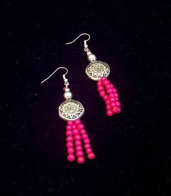Trendy and ethnic Pink bead long earring