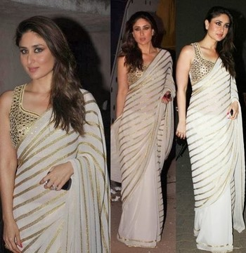 09ed49c4558afc Kareena kapoor White Golden Saree Saree fabric : Georgette Blouse : Dupion  with Embroidery - Ethnictrend - 170759
