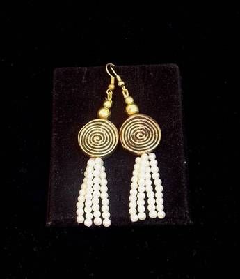 Trendy and ethnicPearl bead long earring