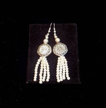 Trendy and ethnic Pearl bead long earring