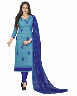 Blue embroidered cotton salwar with dupatta