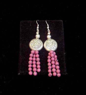 Trendy and ethnic Light Mauve bead long earring