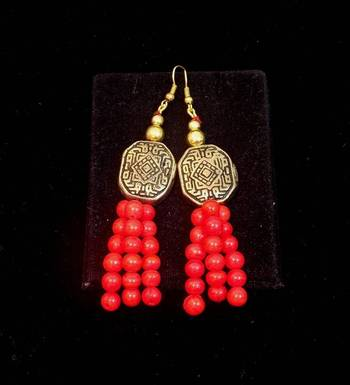 Trendy and ethnic Red bead long earring