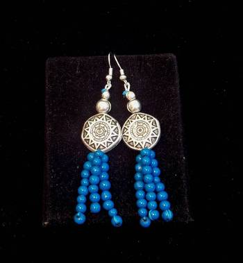 Trendy and ethnic Blue bead long earring