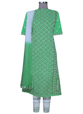 Ada green embroidered green unstitched lucknow chikankari full sleeves salwar kameez with dupatta