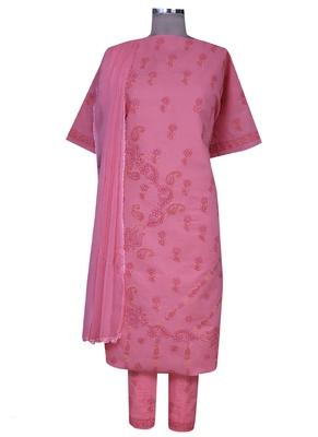 Ada peach embroidered peach unstitched lucknow chikankari full sleeves salwar kameez with dupatta