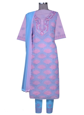Ada pink embroidered pink unstitched lucknow chikankari full sleeves salwar kameez with dupatta