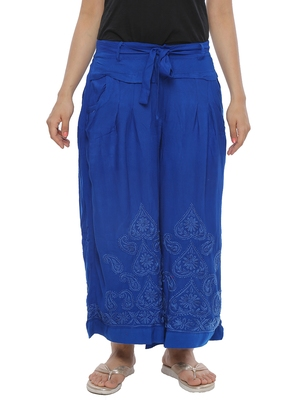 Ada Hand Embroidered Royal Blue Cotton Lucknowi Chikankari Palazzo