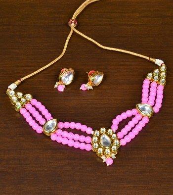 Baby Pink Stone and Kundan Embellished Multi-layered Choker Set for Women