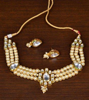 Off-White Pearls and Kundan Embellished Multi-layered Choker Set for Women