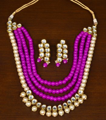 Pink Colored Pearls, Stone and Kundan Embellished Designer Multi-layered Stunning Necklace Set for Women