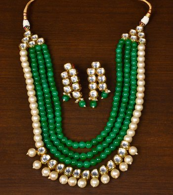 Green Colored Stone, Pearls and Kundan Embellished Festive Designer Multi-layered Necklace Set for Women