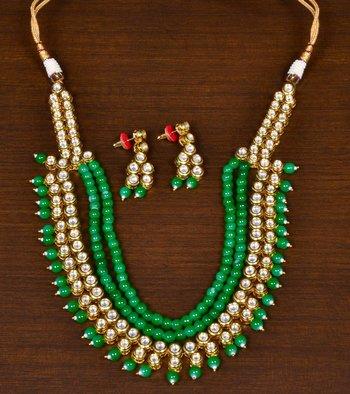 Green Stone and Kundan Embellished Wedding Essential Designer Multi-layered Necklace Set for Women
