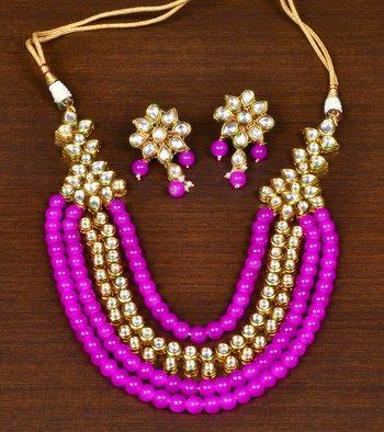 Pink Stone and Kundan Embellished Exquisite Designer Multi-layered Necklace Set for Women