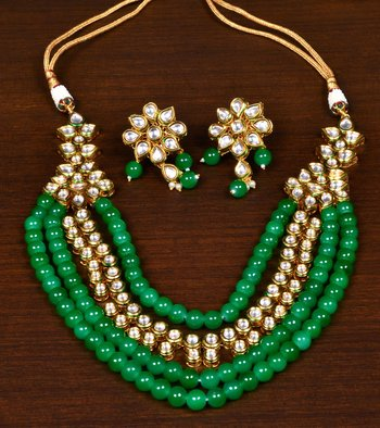 Green Stone and Kundan Embellished Exquisite Designer Multi-layered Necklace Set for Women