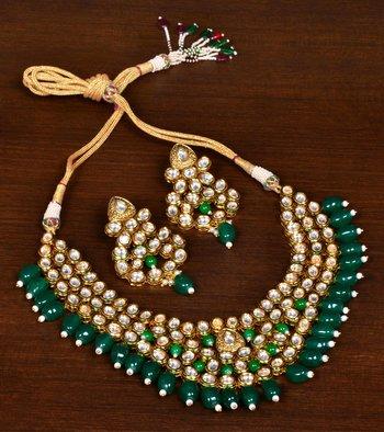 Green Stone and Kundan Embellished High-end Designer Multi-layered Necklace Set for Women