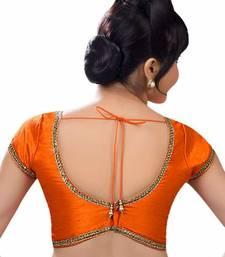 Orange Banglore Silk Lace Work Unstiched Blouse