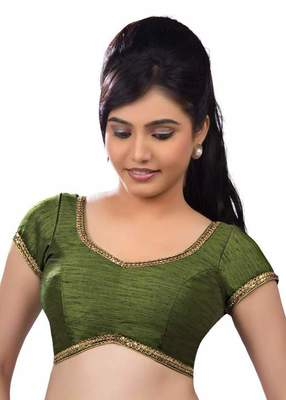 Mendi Green Banglore Silk Lace Work Unstiched Blouse