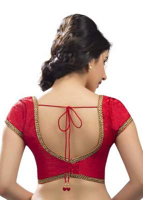 Red Banglore Silk Lace Work Unstiched Blouse