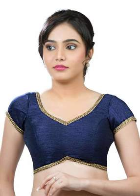 Navy Blue Banglore Silk Lace Work Unstiched Blouse