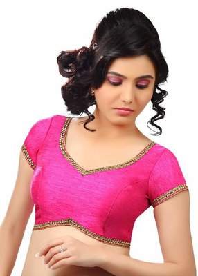 Pink Banglore Silk Lace Work Unstiched Blouse