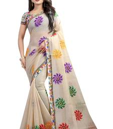Chiku embroidered chanderi saree with blouse
