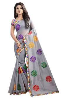 94337778113 Grey embroidered chanderi saree with blouse. Shop Now
