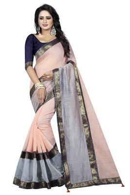 Multicolor plain chanderi saree with blouse