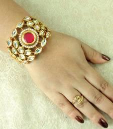 Ruby Free Size Adjustable Kundan Gold Plated Bracelete Kada