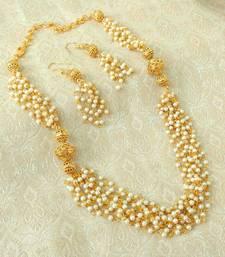 Buy Elegent Golden Brass Pearl Beaded Mala Necklace Set women-ethnic-wear online