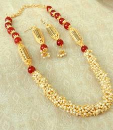 Buy Elegent Maroon Brass Pearl Beaded Mala Necklace Set necklace-set online