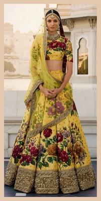 Desiring Yellow Colored Designer Embroidered And Floral Print Art Silk Wedding Lehenga Choli Dupatta Set