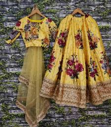 Buy DESIRING YELLOW COLORED DESIGNER EMBROIDERED AND FLORAL PRINT ART SILK WEDDING LEHENGA CHOLI DUPATTA SET lehenga-choli online