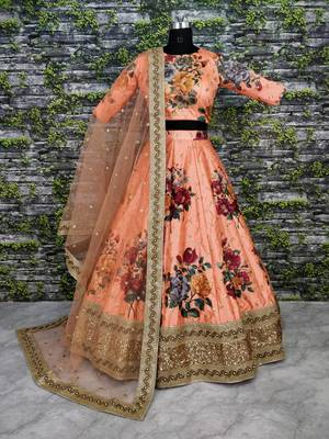 DESIRING PEACH COLORED DESIGNER EMBROIDERED AND FLORAL PRINT ART SILK WEDDING LEHENGA CHOLI DUPATTA SET