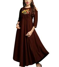 Coffee embroidered rayon long-kurtis