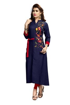 Dark-blue embroidered rayon long-kurtis