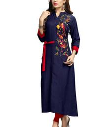 Dark-blue embroidered rayon long-kurtis