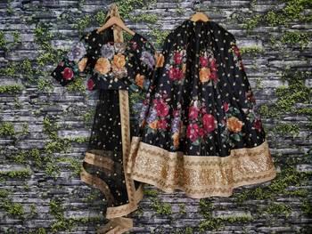 Arresting Black Embroidered and Floral Print Art Silk Lehenga Choli with Dupatta