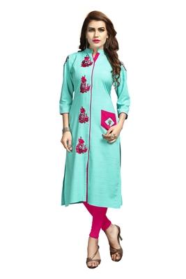 Turquoise embroidered rayon long-kurtis