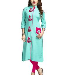 Turquoise embroidered rayon long-kurtis